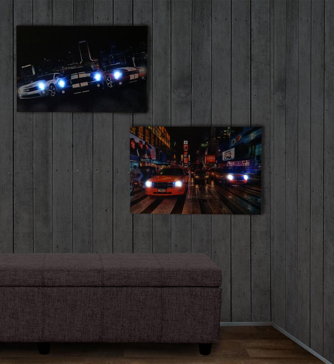 2x led bild mit beleuchtung leinwandbild wandbild wandtattoo beleuchtet autos ebay. Black Bedroom Furniture Sets. Home Design Ideas