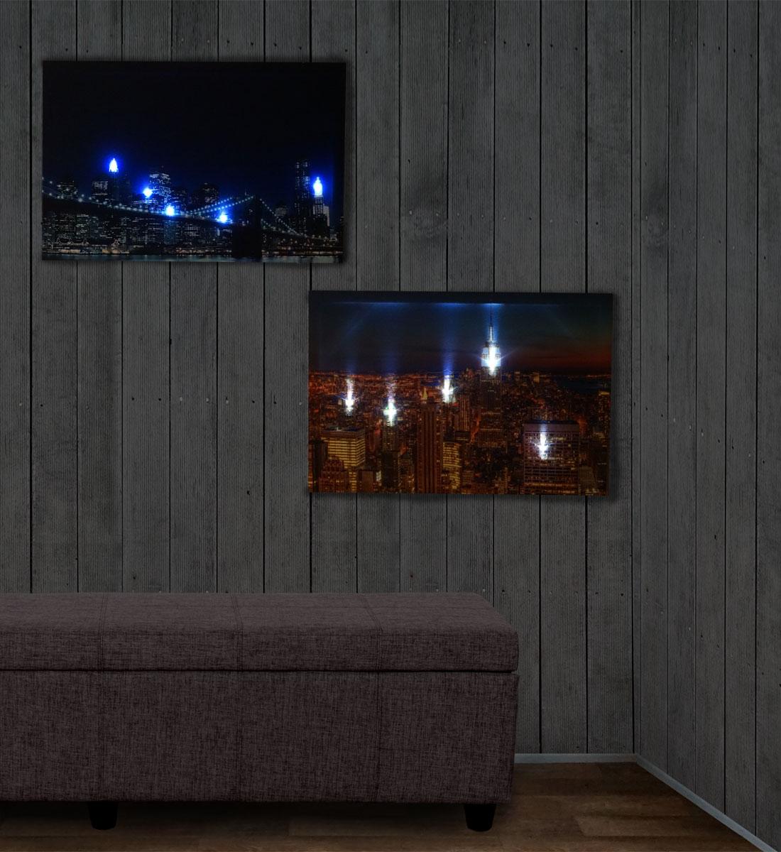 2x led bild mit beleuchtung leinwandbild wandbild. Black Bedroom Furniture Sets. Home Design Ideas
