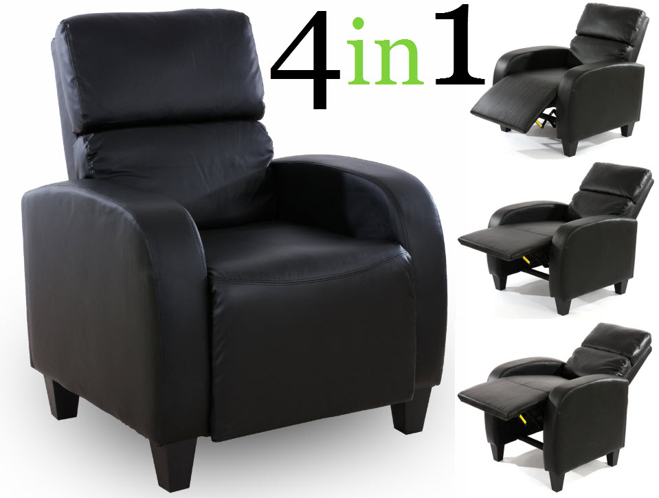 4 in 1 DESIGN FERNSEHSESSEL RELAXSESSEL PU LEDER GAMER TV